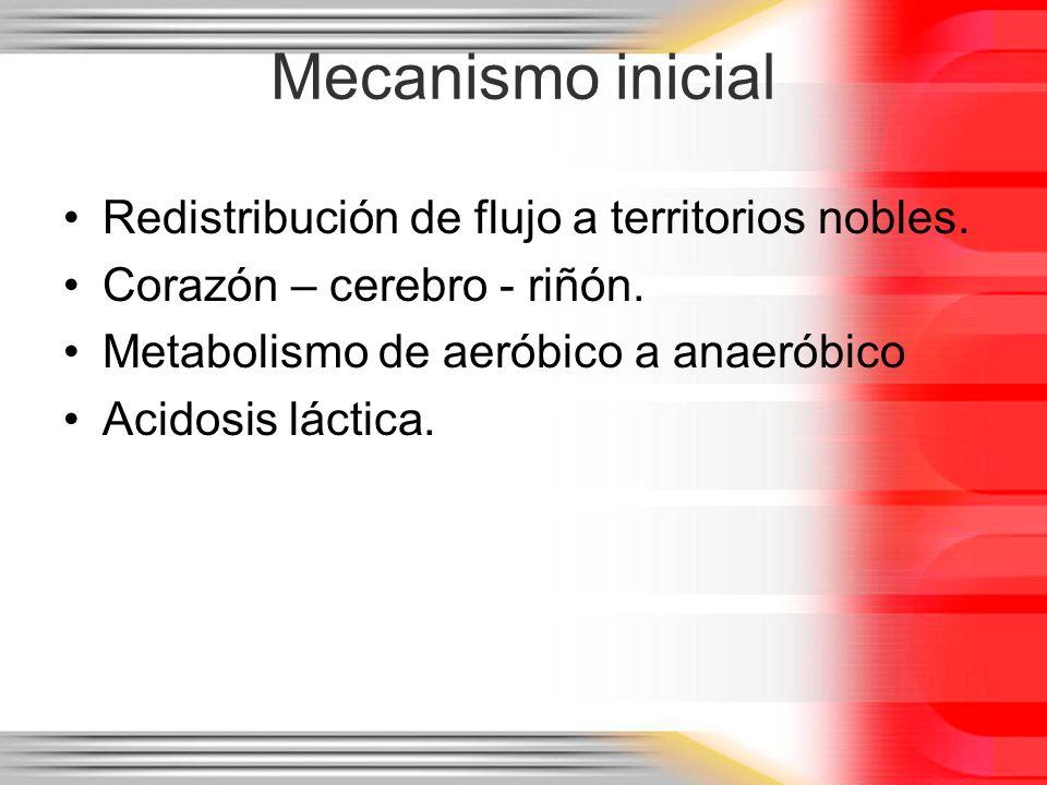 Mecanismo inicial Redistribución de flujo a territorios nobles.