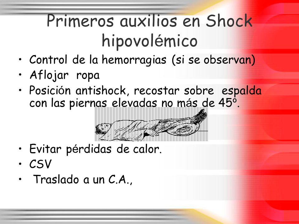 Primeros auxilios en Shock hipovolémico