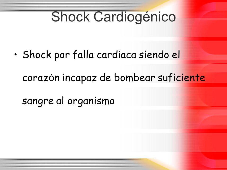 Shock Cardiogénico Shock por falla cardíaca siendo el corazón incapaz de bombear suficiente sangre al organismo.