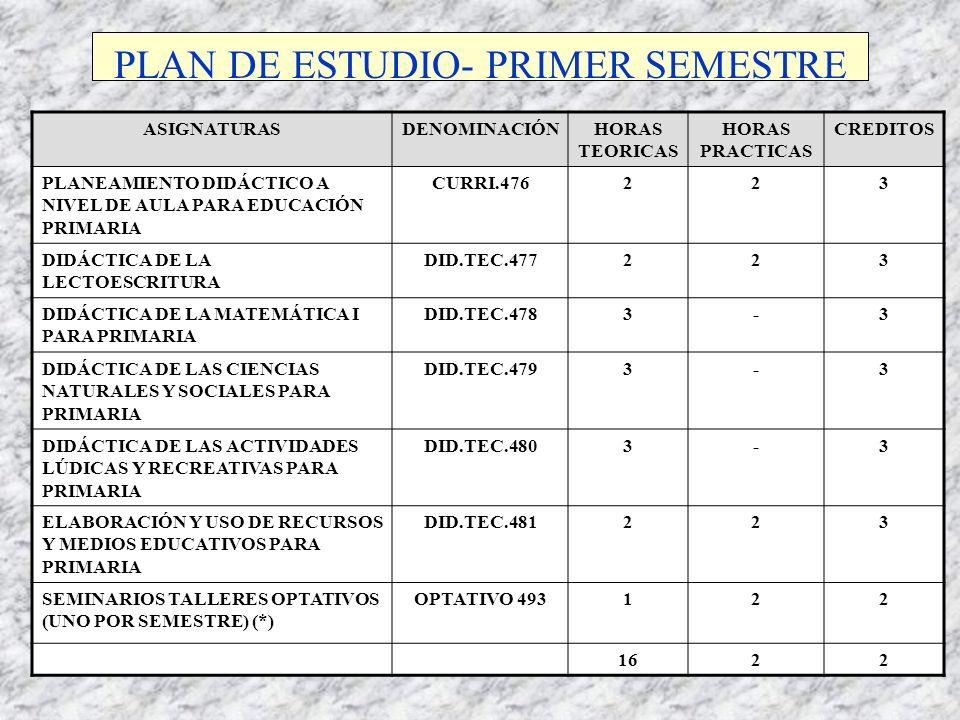 PLAN DE ESTUDIO- PRIMER SEMESTRE