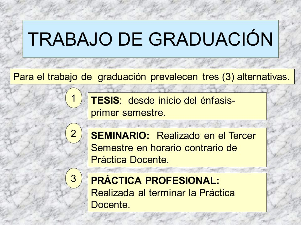 TRABAJO DE GRADUACIÓN Para el trabajo de graduación prevalecen tres (3) alternativas. 1. TESIS: desde inicio del énfasis-primer semestre.
