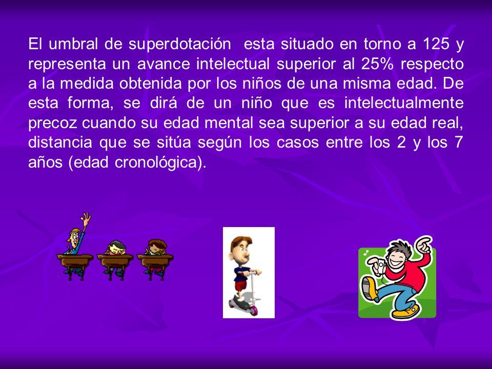 El umbral de superdotación esta situado en torno a 125 y representa un avance intelectual superior al 25% respecto a la medida obtenida por los niños de una misma edad.