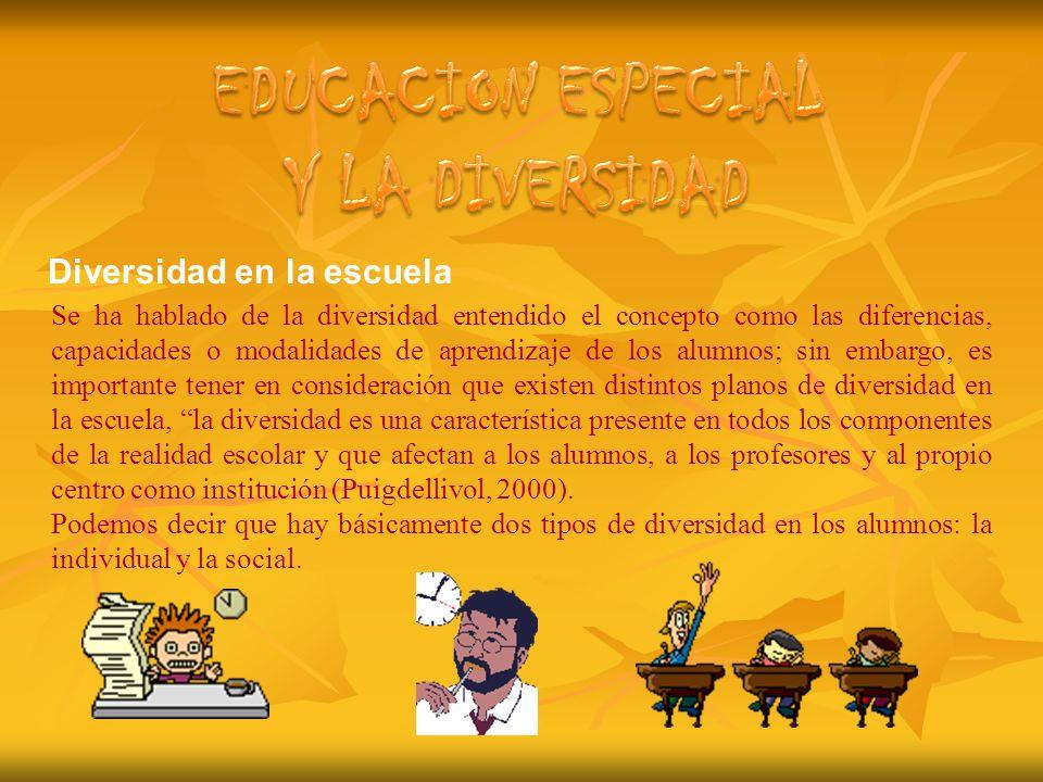 EDUCACION ESPECIAL Y LA DIVERSIDAD