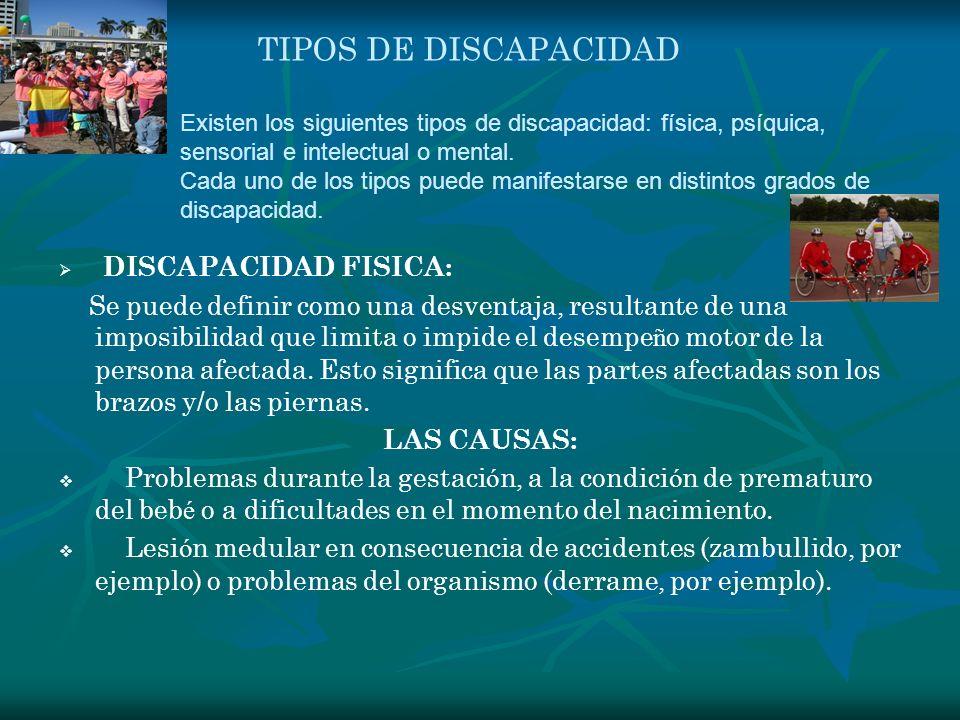 TIPOS DE DISCAPACIDAD DISCAPACIDAD FISICA: