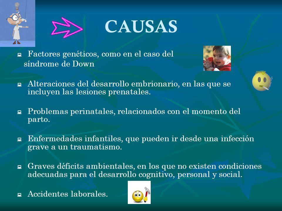 CAUSAS Factores genéticos, como en el caso del síndrome de Down