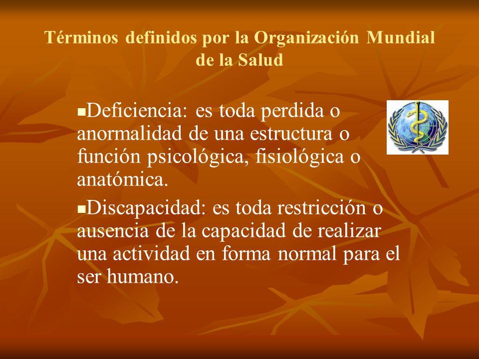 Términos definidos por la Organización Mundial de la Salud