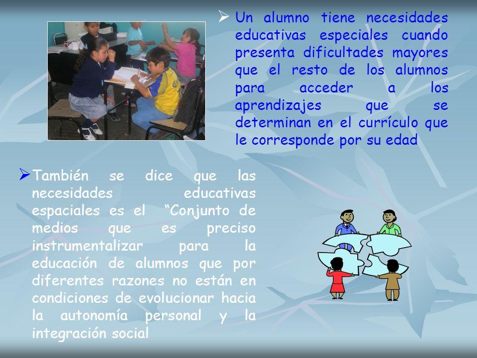 Un alumno tiene necesidades educativas especiales cuando presenta dificultades mayores que el resto de los alumnos para acceder a los aprendizajes que se determinan en el currículo que le corresponde por su edad