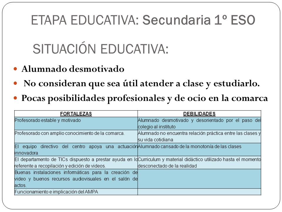 ETAPA EDUCATIVA: Secundaria 1º ESO