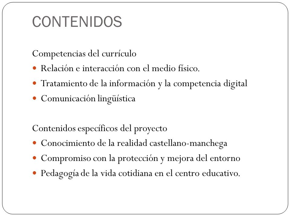 CONTENIDOS Competencias del currículo