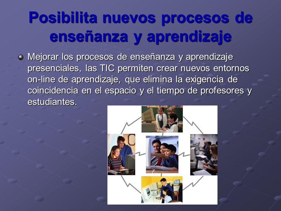 Posibilita nuevos procesos de enseñanza y aprendizaje