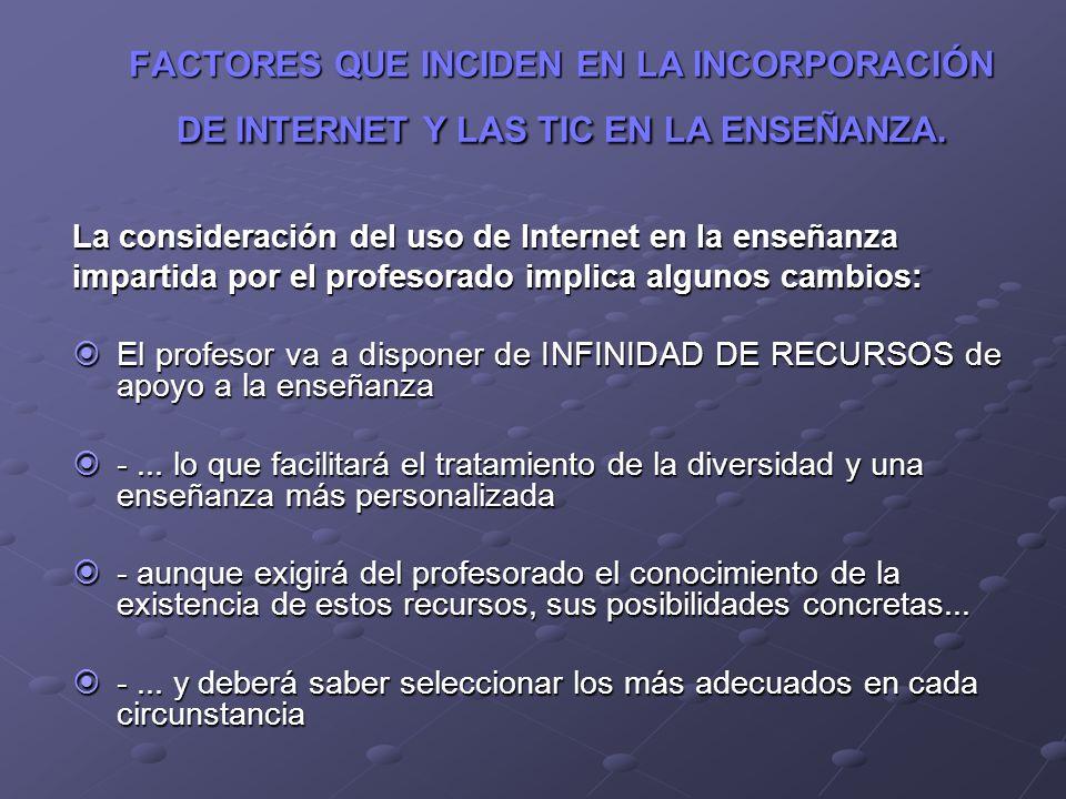 FACTORES QUE INCIDEN EN LA INCORPORACIÓN DE INTERNET Y LAS TIC EN LA ENSEÑANZA.