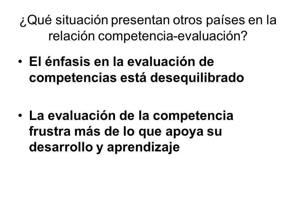 ¿Qué situación presentan otros países en la relación competencia-evaluación