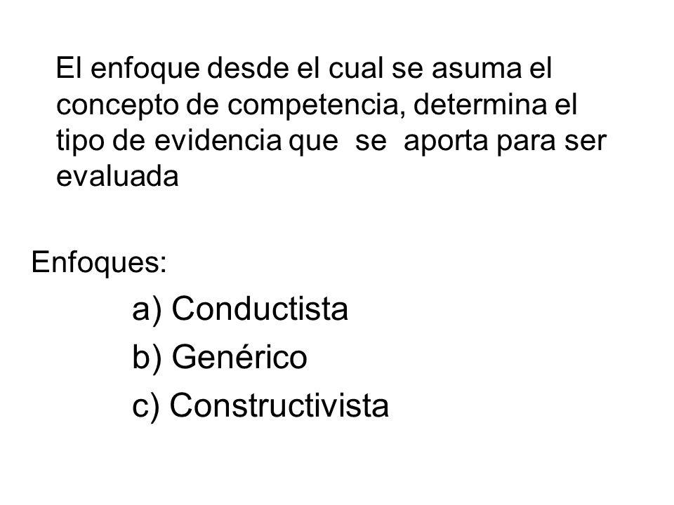 a) Conductista b) Genérico c) Constructivista