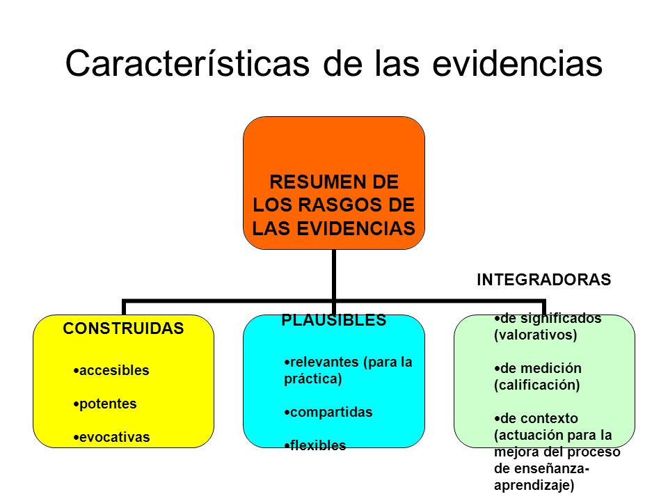 Características de las evidencias