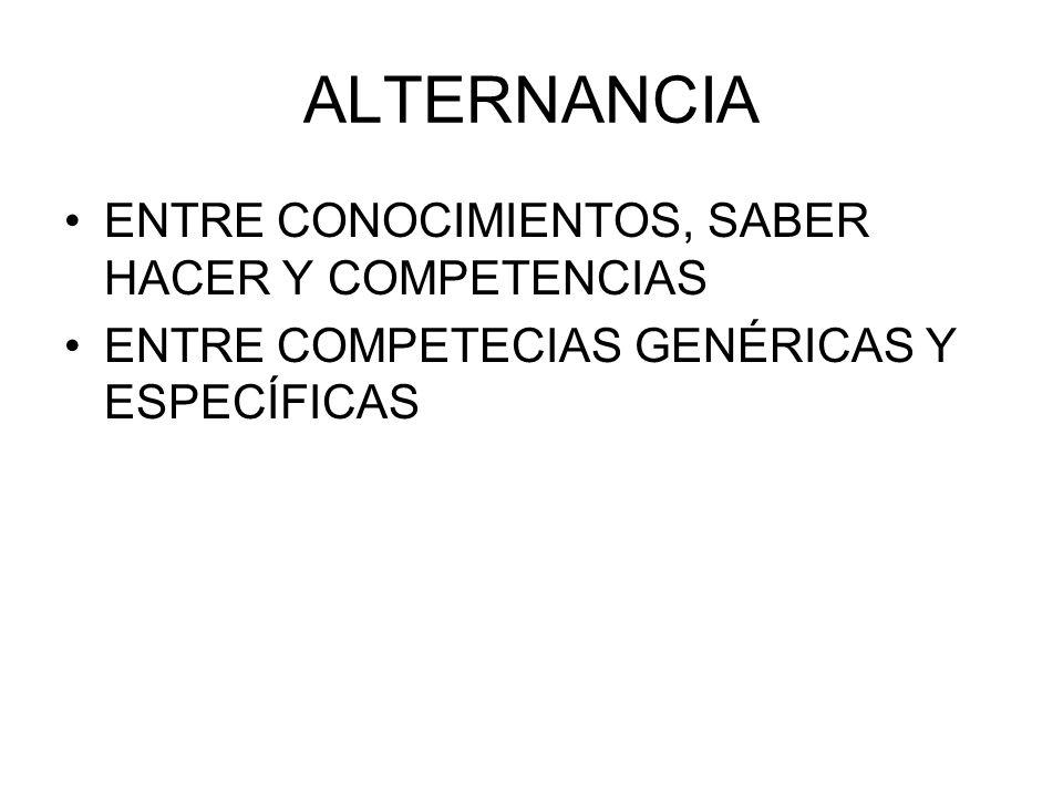 ALTERNANCIA ENTRE CONOCIMIENTOS, SABER HACER Y COMPETENCIAS