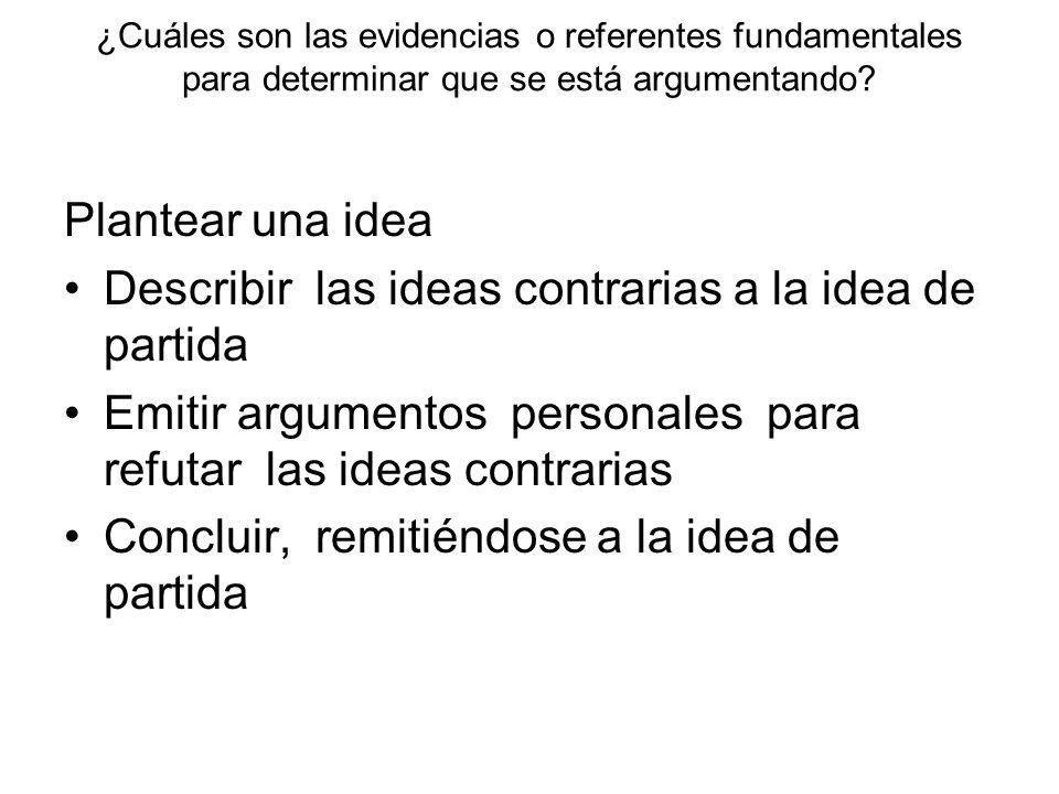 Describir las ideas contrarias a la idea de partida