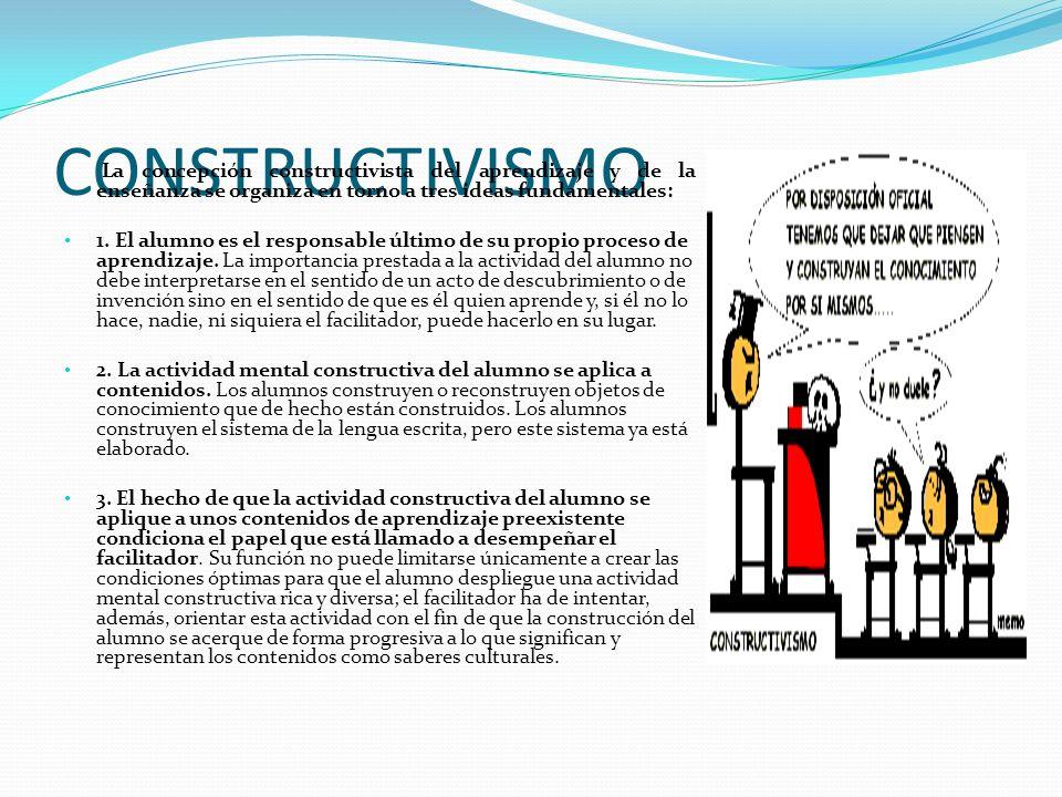CONSTRUCTIVISMO La concepción constructivista del aprendizaje y de la enseñanza se organiza en torno a tres ideas fundamentales: