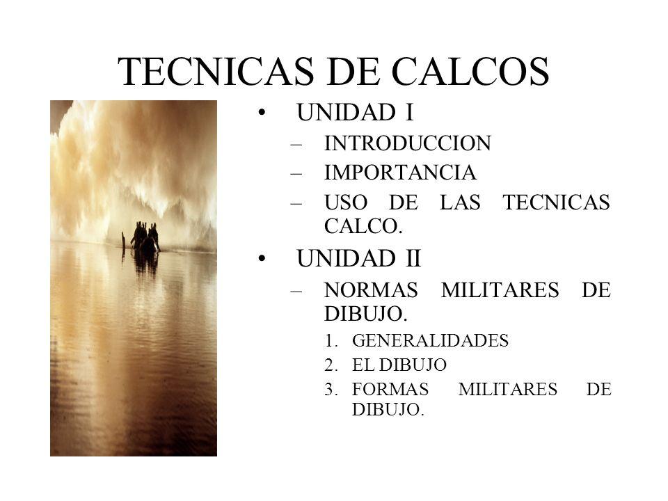 TECNICAS DE CALCOS UNIDAD I UNIDAD II INTRODUCCION IMPORTANCIA