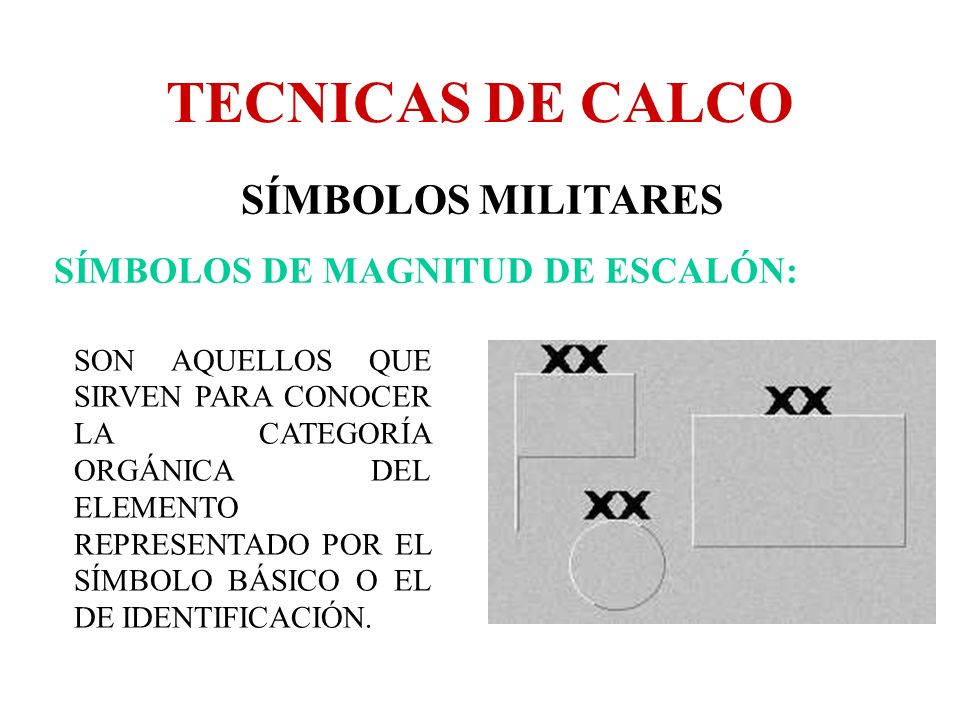 TECNICAS DE CALCO SÍMBOLOS MILITARES SÍMBOLOS DE MAGNITUD DE ESCALÓN: