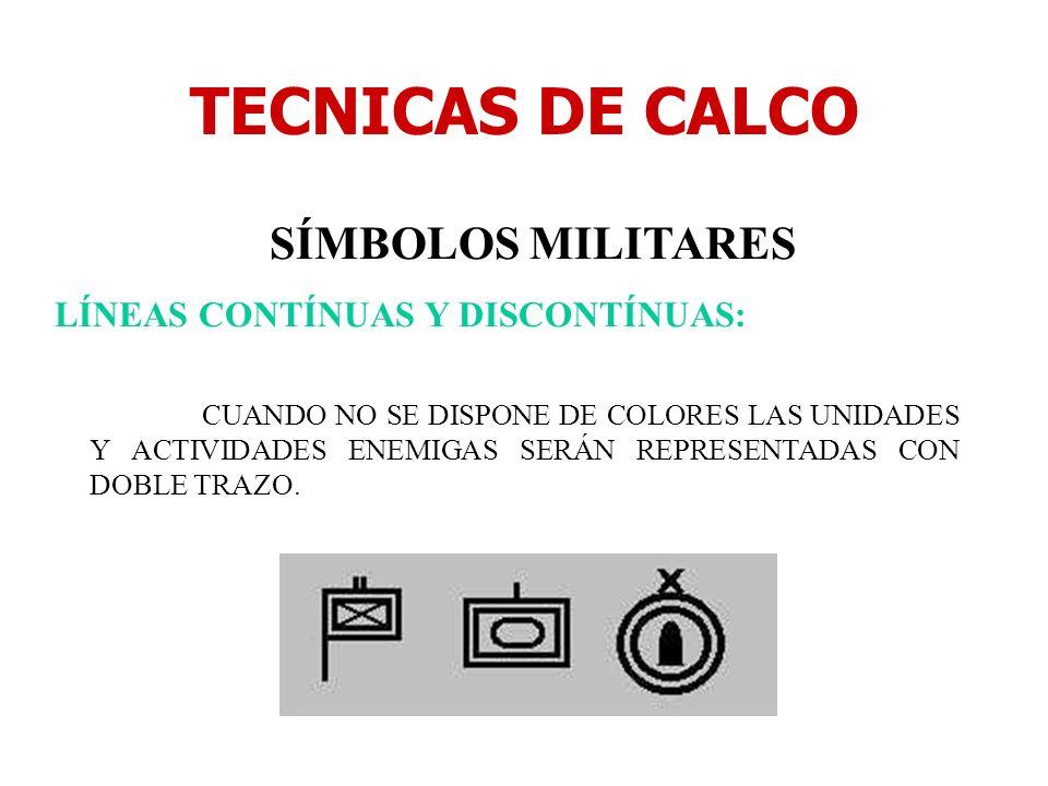 TECNICAS DE CALCO SÍMBOLOS MILITARES LÍNEAS CONTÍNUAS Y DISCONTÍNUAS: