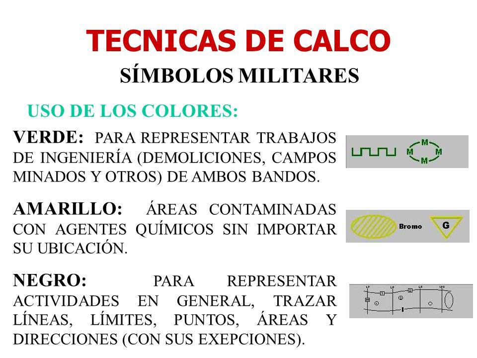 TECNICAS DE CALCO SÍMBOLOS MILITARES USO DE LOS COLORES: