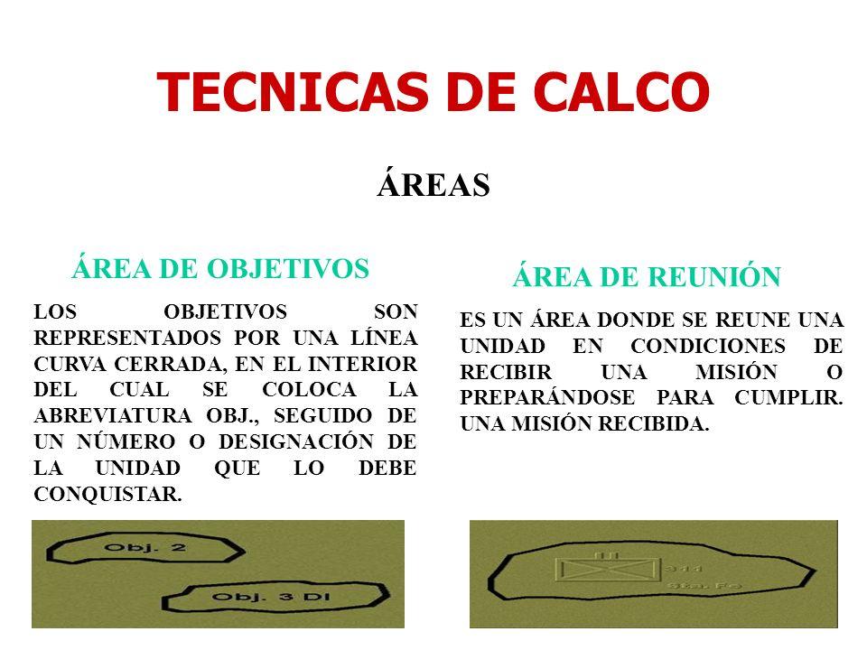 TECNICAS DE CALCO ÁREAS ÁREA DE OBJETIVOS ÁREA DE REUNIÓN