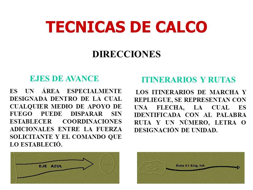 TECNICAS DE CALCO DIRECCIONES EJES DE AVANCE ITINERARIOS Y RUTAS