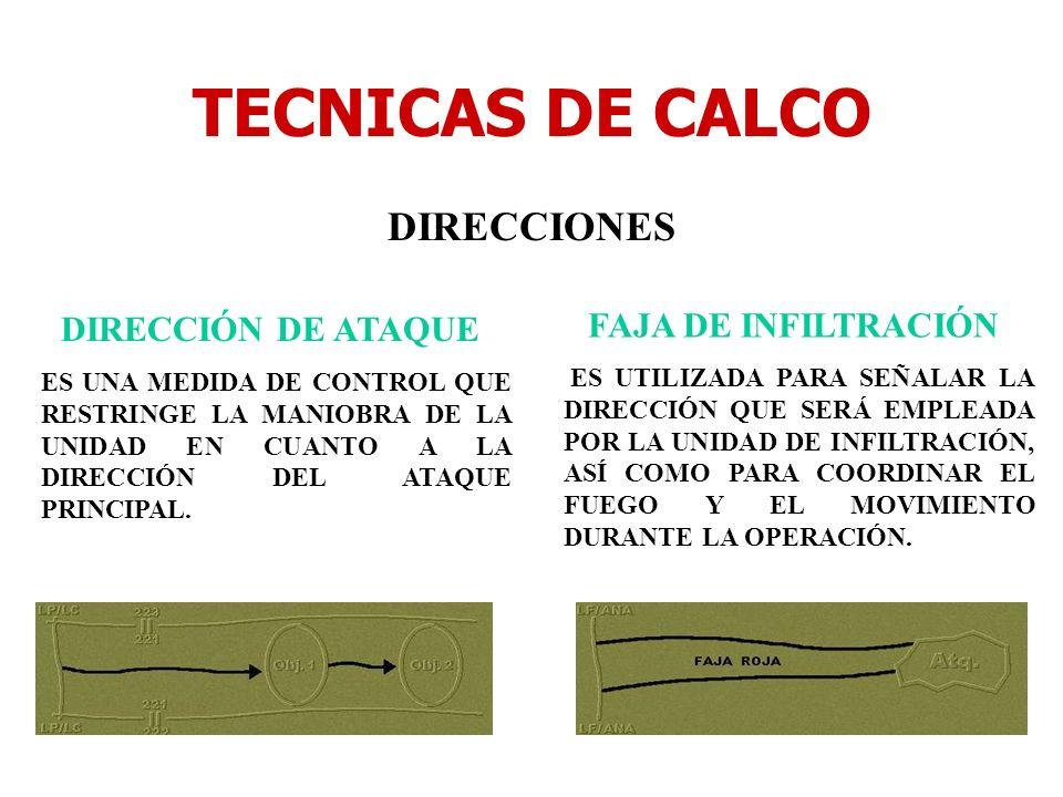TECNICAS DE CALCO DIRECCIONES FAJA DE INFILTRACIÓN DIRECCIÓN DE ATAQUE