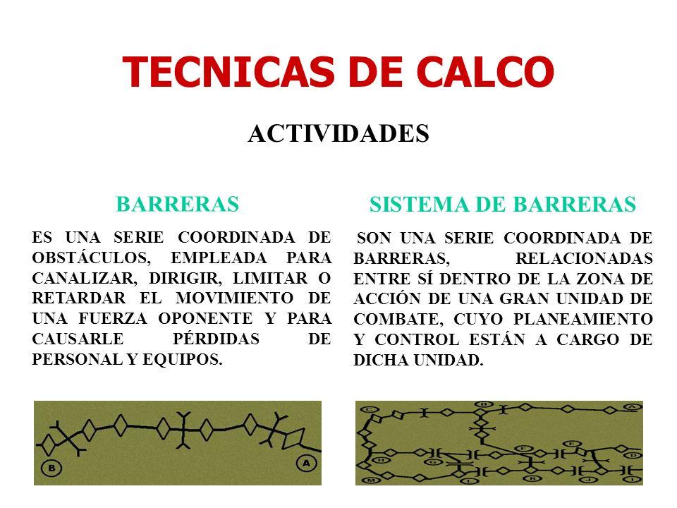 TECNICAS DE CALCO ACTIVIDADES BARRERAS SISTEMA DE BARRERAS