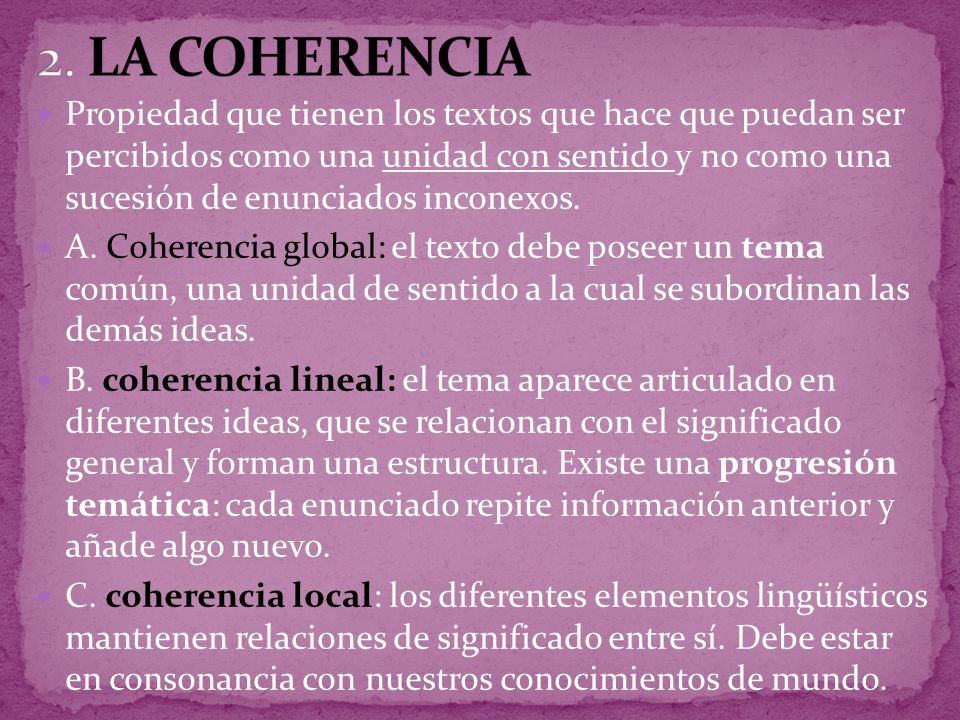 2. LA COHERENCIA
