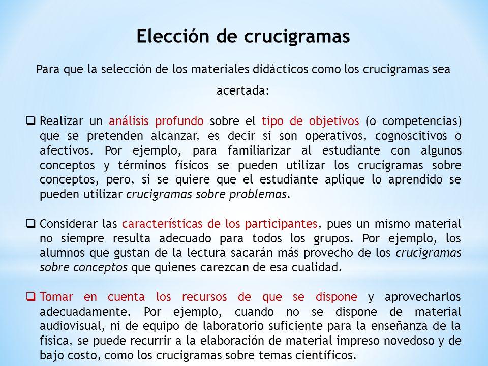Elección de crucigramas