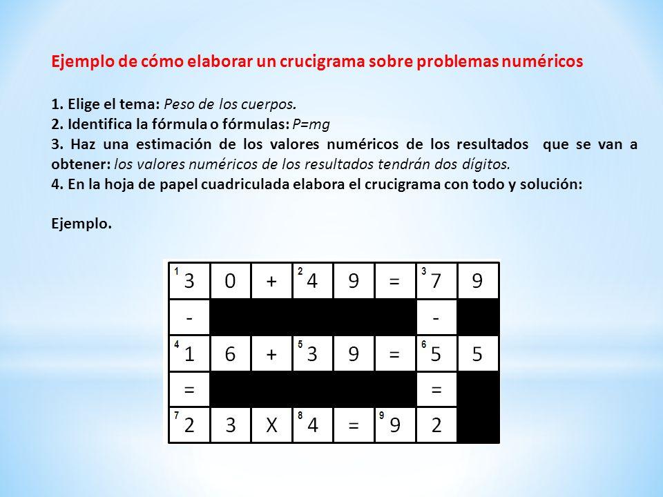 Ejemplo de cómo elaborar un crucigrama sobre problemas numéricos
