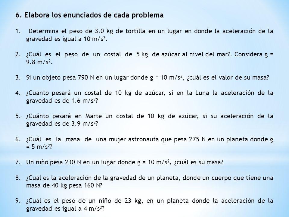 6. Elabora los enunciados de cada problema