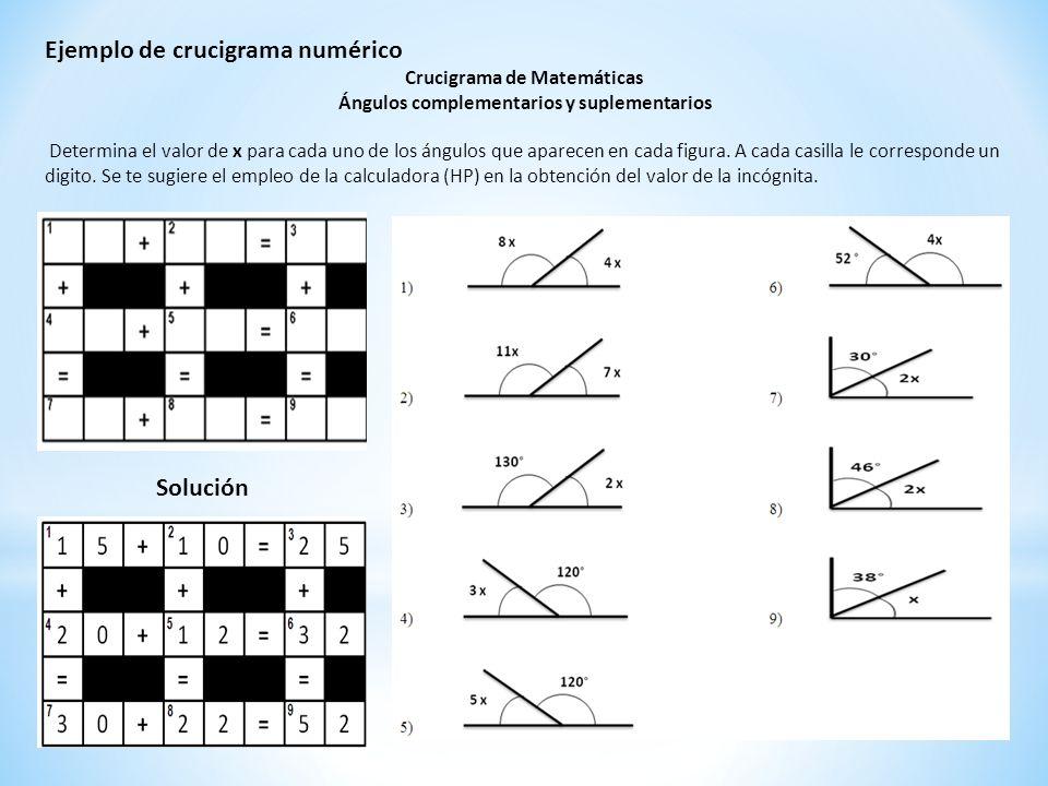Crucigrama de Matemáticas Ángulos complementarios y suplementarios