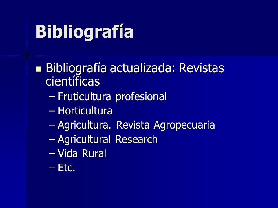 Bibliografía Bibliografía actualizada: Revistas científicas