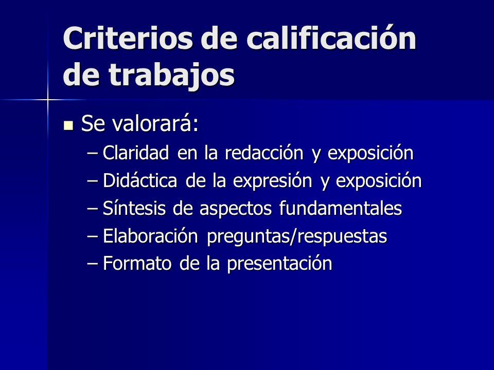 Criterios de calificación de trabajos