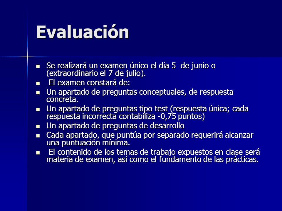 Evaluación Se realizará un examen único el día 5 de junio o (extraordinario el 7 de julio). El examen constará de: