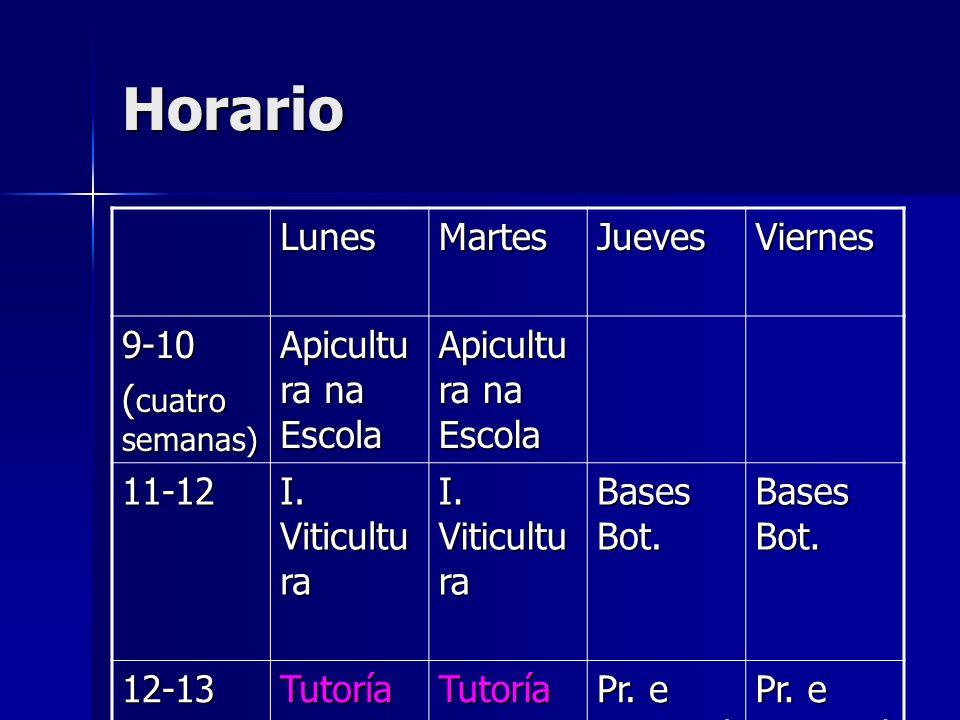 Horario Lunes Martes Jueves Viernes 9-10 (cuatro semanas)