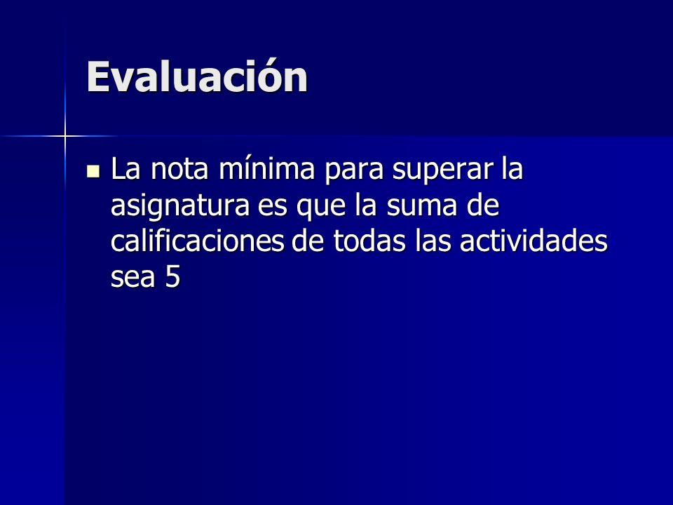 EvaluaciónLa nota mínima para superar la asignatura es que la suma de calificaciones de todas las actividades sea 5.