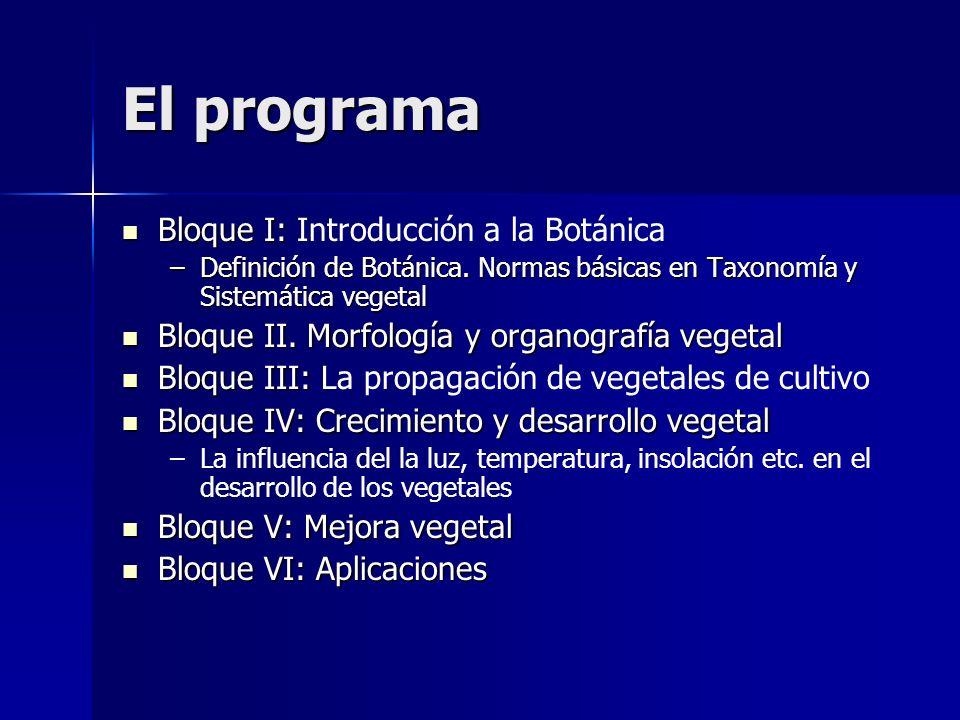 El programa Bloque I: Introducción a la Botánica