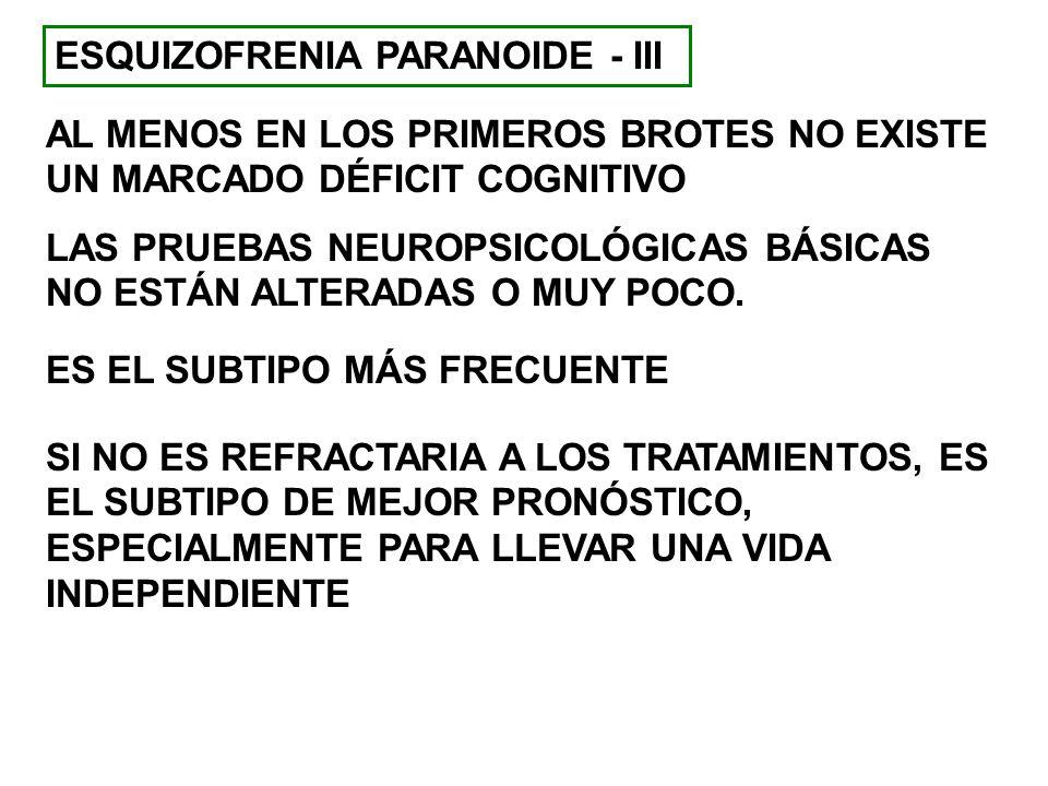 ESQUIZOFRENIA PARANOIDE - III