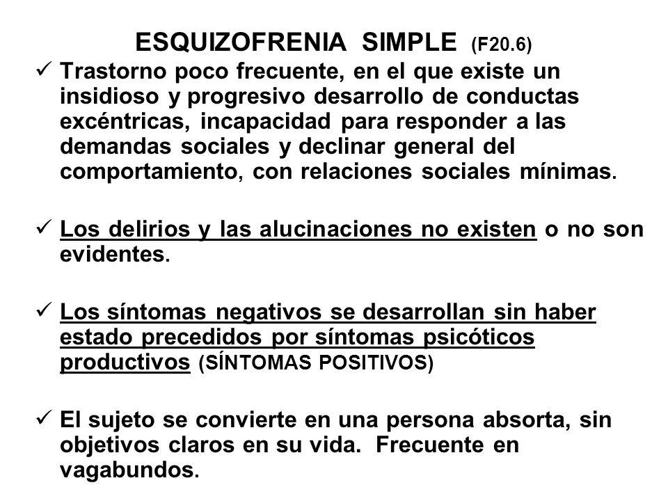 ESQUIZOFRENIA SIMPLE (F20.6)