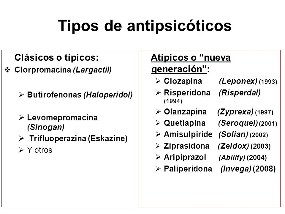 Tipos de antipsicóticos