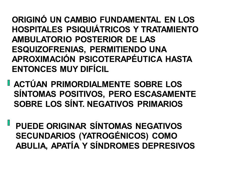 ORIGINÓ UN CAMBIO FUNDAMENTAL EN LOS HOSPITALES PSIQUIÁTRICOS Y TRATAMIENTO AMBULATORIO POSTERIOR DE LAS ESQUIZOFRENIAS, PERMITIENDO UNA APROXIMACIÓN PSICOTERAPÉUTICA HASTA ENTONCES MUY DIFÍCIL
