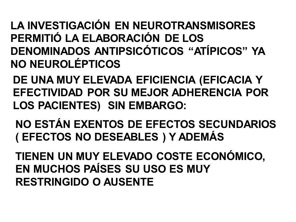 LA INVESTIGACIÓN EN NEUROTRANSMISORES PERMITIÓ LA ELABORACIÓN DE LOS DENOMINADOS ANTIPSICÓTICOS ATÍPICOS YA NO NEUROLÉPTICOS