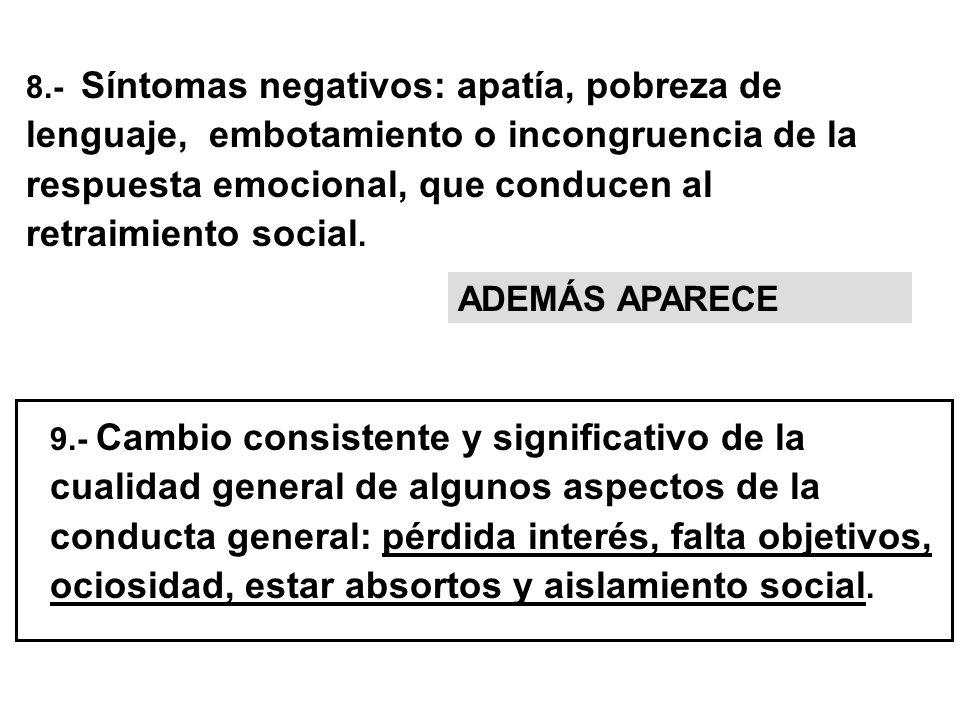 8.- Síntomas negativos: apatía, pobreza de lenguaje, embotamiento o incongruencia de la respuesta emocional, que conducen al retraimiento social.