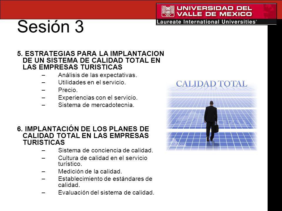 Sesión 3 5. ESTRATEGIAS PARA LA IMPLANTACION DE UN SISTEMA DE CALIDAD TOTAL EN LAS EMPRESAS TURISTICAS.