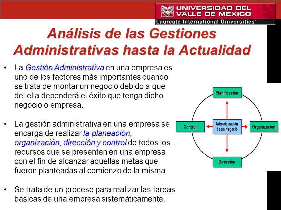 Análisis de las Gestiones Administrativas hasta la Actualidad