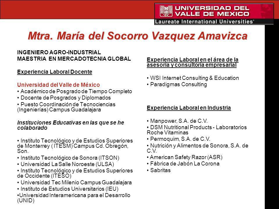 Mtra. María del Socorro Vazquez Amavizca