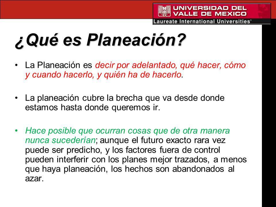 ¿Qué es Planeación La Planeación es decir por adelantado, qué hacer, cómo y cuando hacerlo, y quién ha de hacerlo.